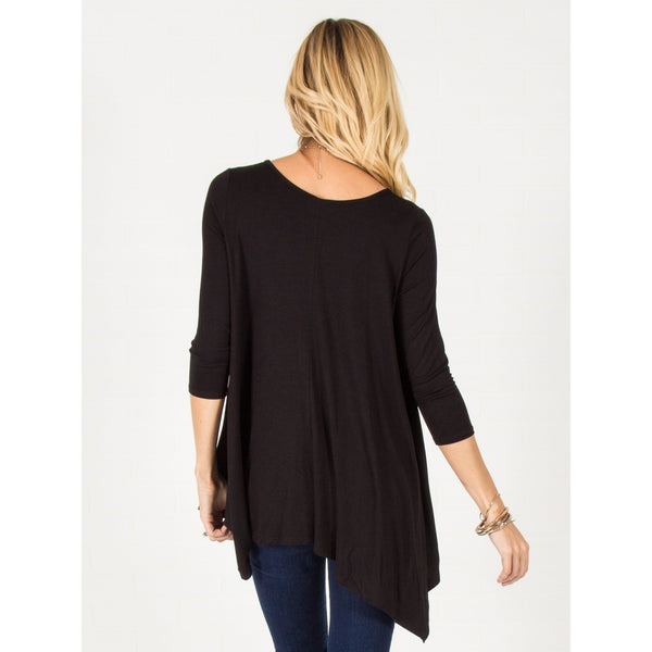 Flowy Asymmetrical Top - Black - Epethiya
