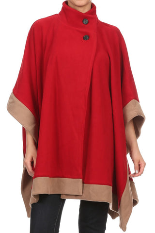 Womens Short Fleece Poncho - Epethiya