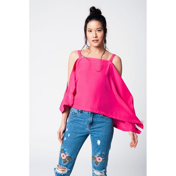 Fuchsia crop top with straps and cold shoulders - Epethiya