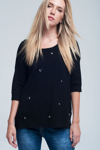 Asymmetric embellished black sweater - Epethiya