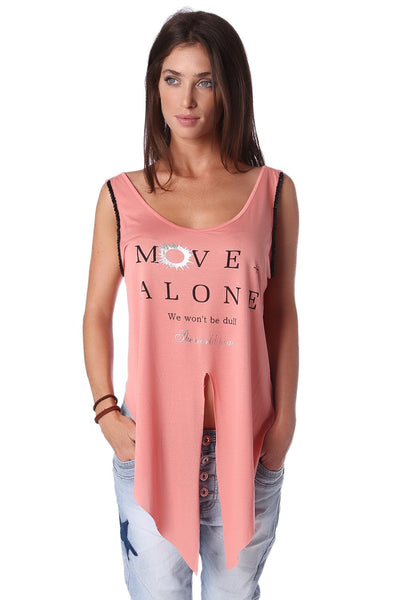Coral logo tank top with center split