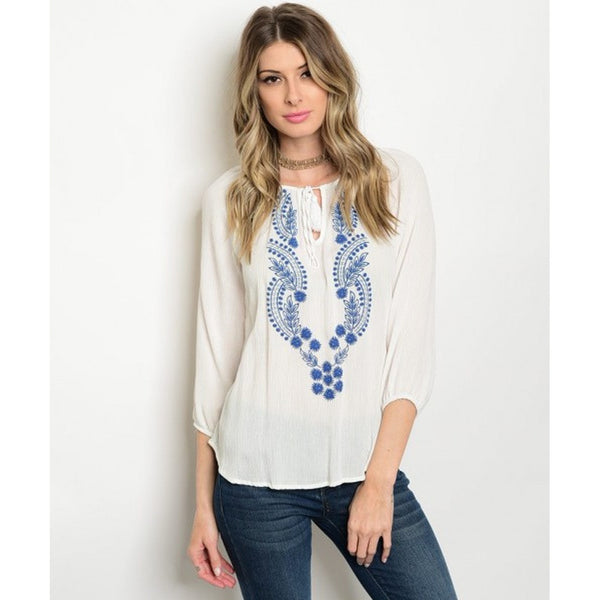 Women's White Long Sleeve Embroidered Top - Epethiya