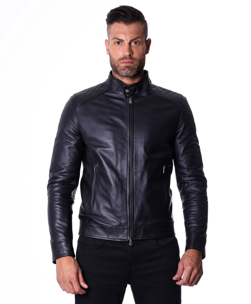 Men's Leather Jacket, genuine soft leather, biker mao collar mao, quilted yoke, black color, mod.Emiliany Trap - Epethiya