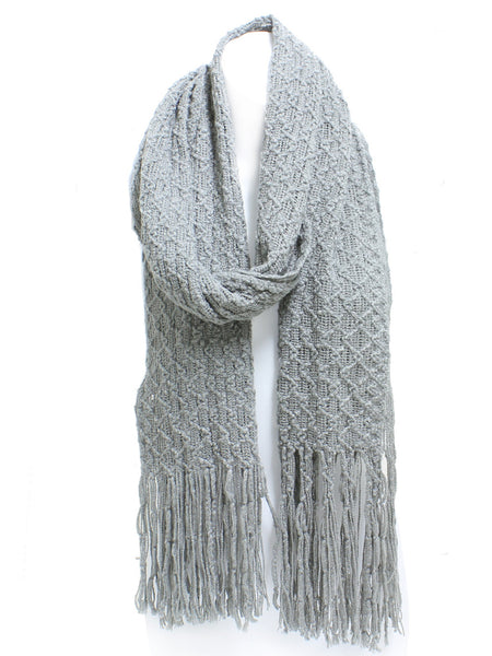 Gray Winter Honeycomb Rectangle Scarf with Fringe - Epethiya