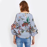 Gathered Sleeve Mixed Print Surplice Wrap Blouse - Epethiya
