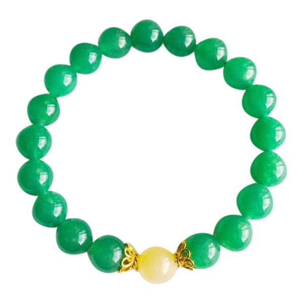 I Attract Luck & Prosperity - Aventurine & Yellow Calcite Vermeil Bracelet - Epethiya