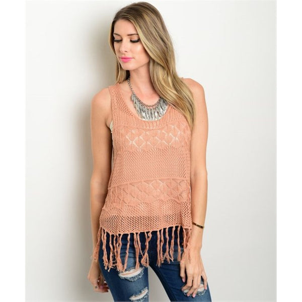 Women's Top Lace Fringe Trim Sleeveless