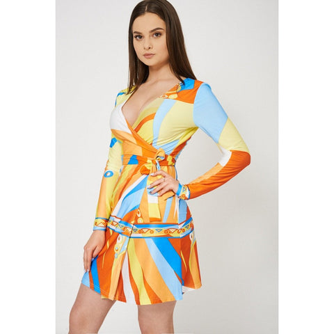 Abstract Pattern Wrap Dress - Epethiya