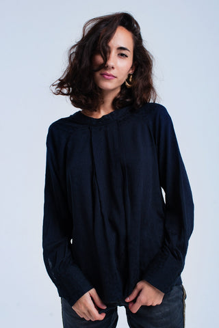 Flowing navy blouse - Epethiya