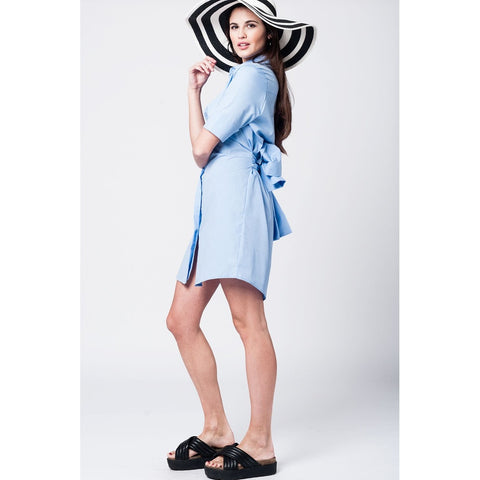 Blue midi dress with waist bow detail - Epethiya