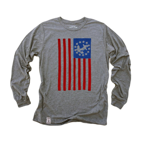 USA Yacht Ensign: Tri-Blend Long Sleeve T-Shirt in Heather Grey