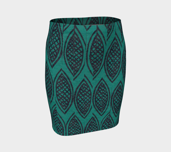 Dark Leaves Fitted Skirt - Epethiya