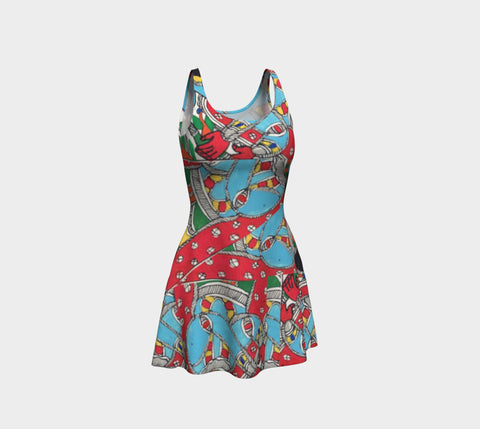 Whimsical Abstract Flare Dress - Epethiya