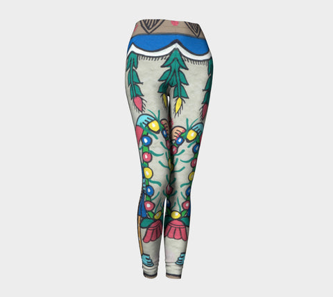 Vertical Abstract Floral Leggings - ePethiya
