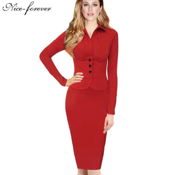 Nice-forever New Fashion Long Sleeve Office Lady Vintage Buttons formal red Tunic Wear To Work warm Sheath Bodycon Dress 749 - Epethiya