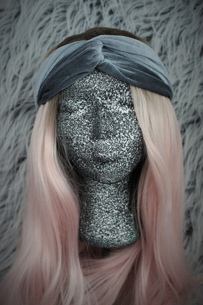 Grey Topknot Velvet Turban