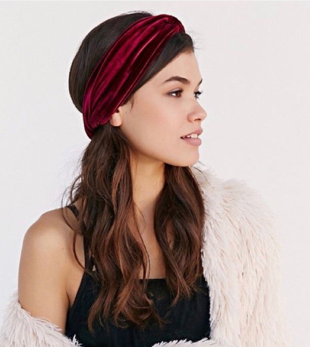 Burgundy Topknot Velvet Turban