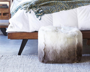 GOAT FUR POUF IN STYLISH FASHION FOR ROOM GLAM DECOR