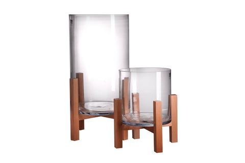 NEW - GLASS & WOOD VASE