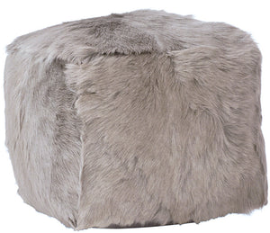 GOAT FUR POUF LIGHT GREY