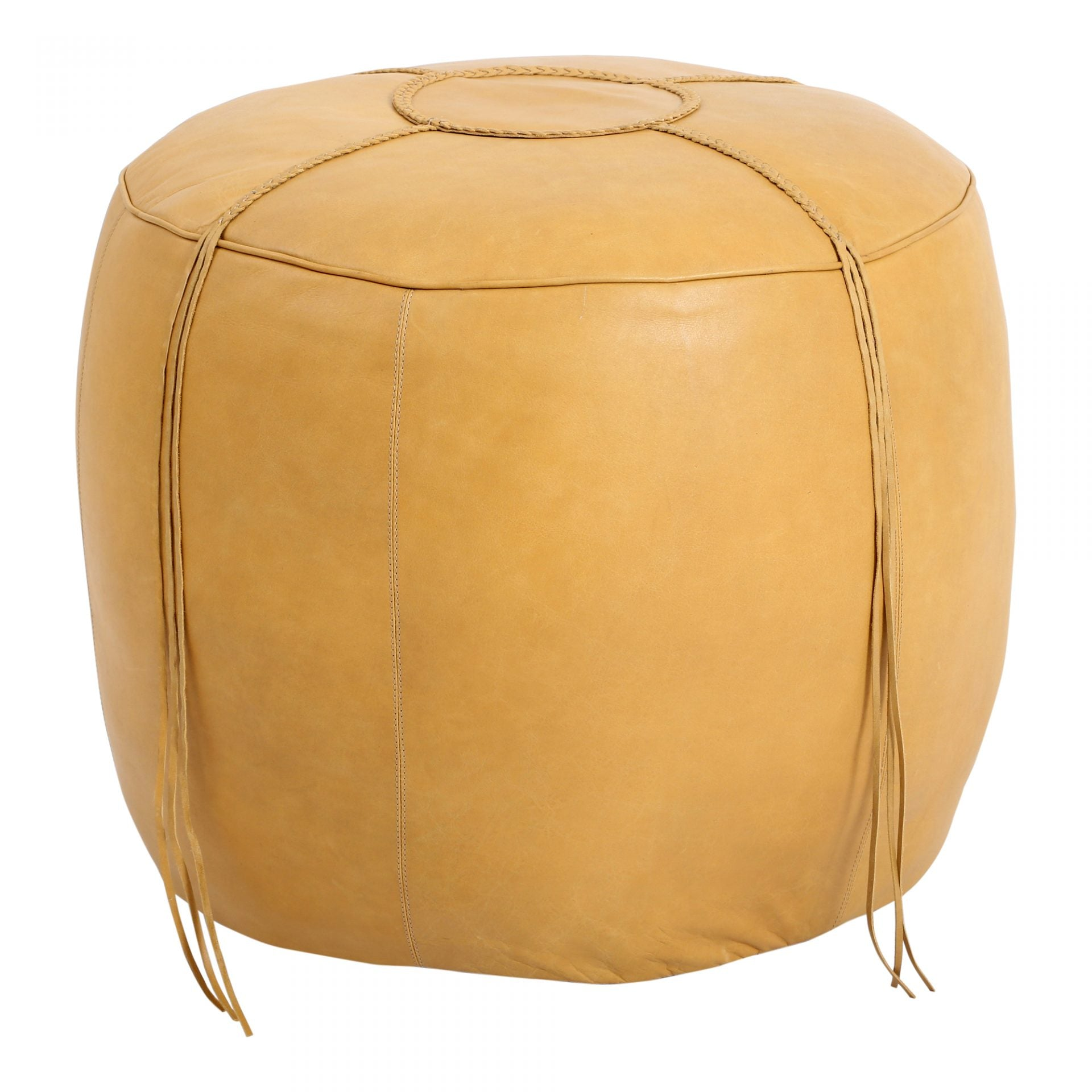 METTEO LEATHER OTTOMAN - NATURAL