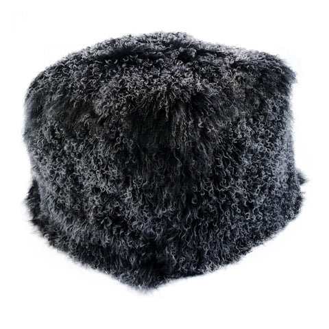 LAMB FUR POUF BLACK SNOW