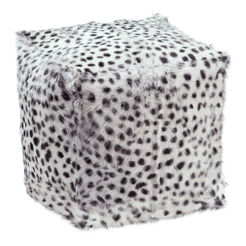 GOAT FUR POUF SPOTTED LIGHT GREY