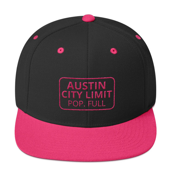 Pink Austin Population Full Snapback Trucker Hat