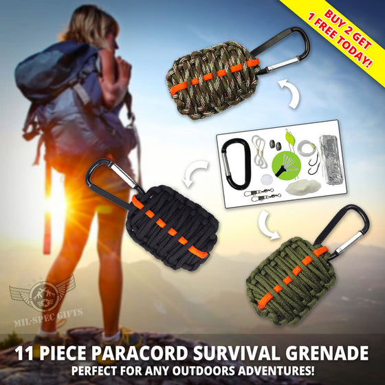 11 Piece Paracord Survival Grenade (Buy 2 Get 1 FREE!)