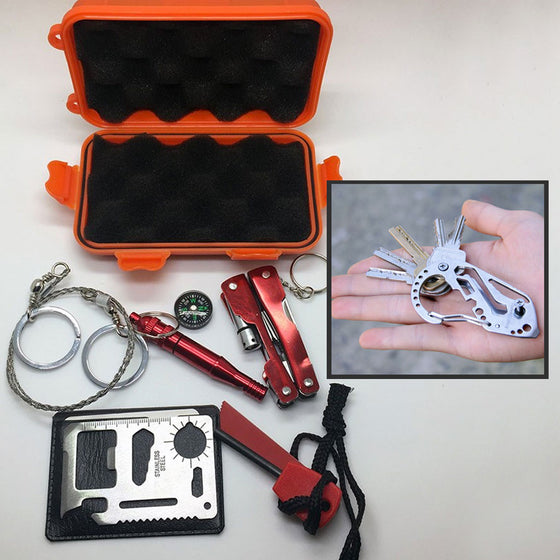 Emergency Waterproof Survival SOS Kit + Carabiner Key Holder