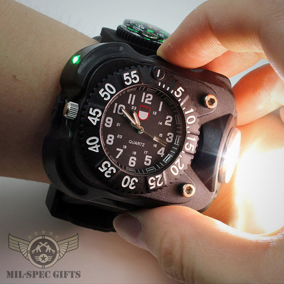 3in1 Torch Compass Watch