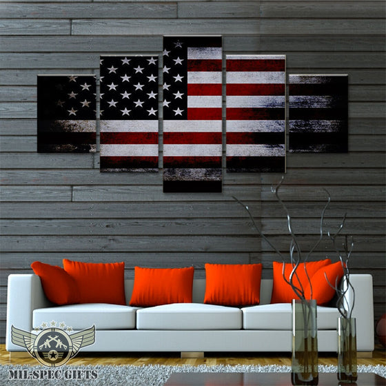 5 Panel American Flag Canvas Print