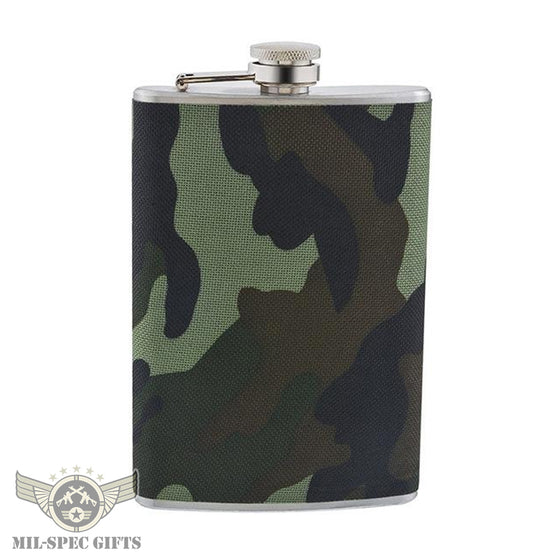 Stainless Steel Military Camo 9oz Hip Flask