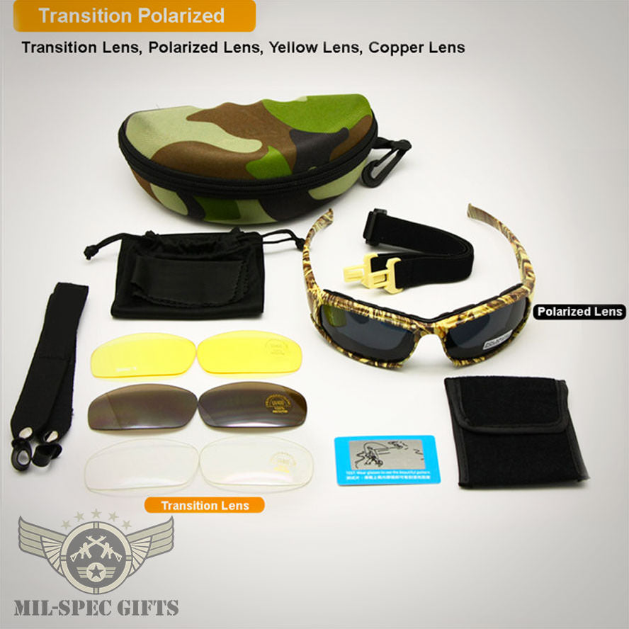 Transition Polarized X7 Tactical Shatterproof USA Military Goggles