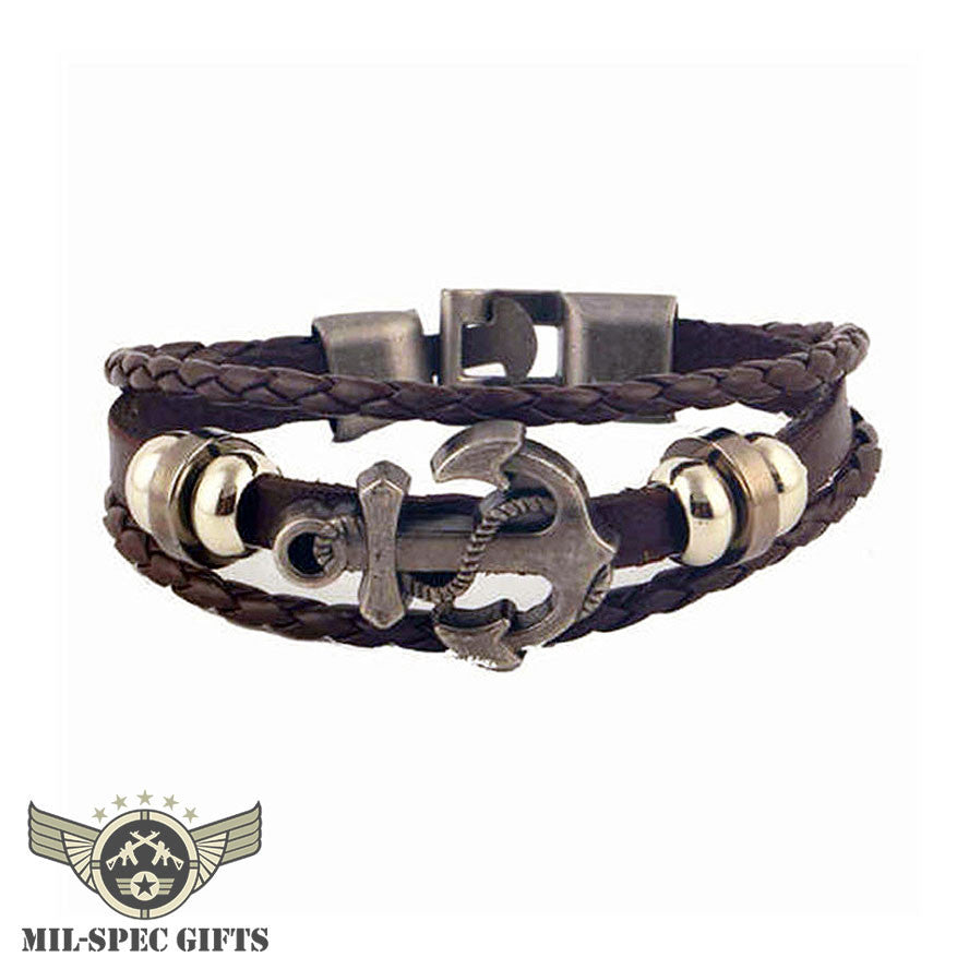 leather for bracelet weave in strand multilayer anchor navy accessories genuine women bracelets from style men jewelry item niuyitid charm