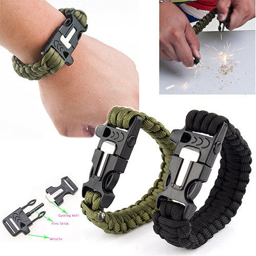 Outdoor Survival Paracord Bracelet With Flint & Whistle