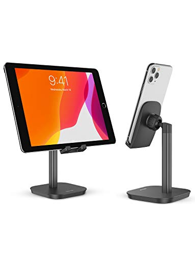 Phone Stand,OMOTOM Vertical Desktop Holder Stand Compatible for iPhone SE/12/11/11 Pro/XR/XS/8/7/6s, Samsung Galaxy A20E/A51/A71/S20/S20 Plus and More(Up to 7 Inches),Black