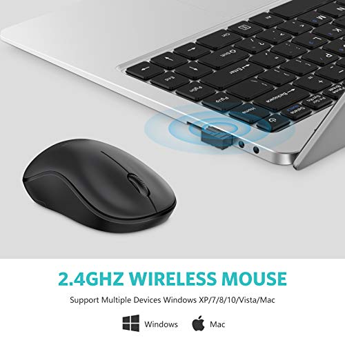 OMOTON Wireless Mouse for Laptop, 2.4G Cordless Computer Mouse with USB Receiver for PC, Desktop and iMac with Windows and Mac OS System, Black