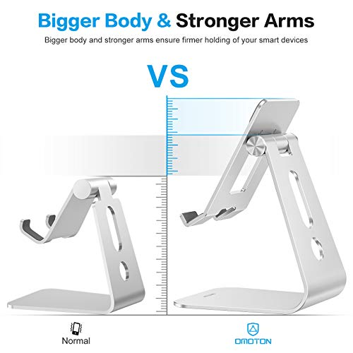 Adjustable Tablet Stand for Desk, Upgraded Longer Arms for Greater Stability, OMOTON T2 iPad Stand Holder with Hollow Design for Bigger Sized Phones and Tablets Such as iPad Pro/Air/Mini, Silver