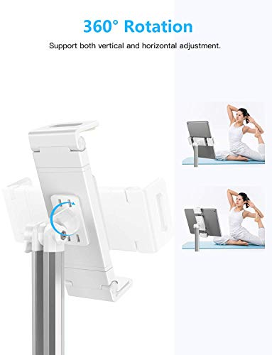 OMOTON Tablet Mount, Upgraded 360°Rotatable Tablet Stand Holder Mount Dock Bracket for New iPad Air 4/ Mini 5/10.2/9.7/10.9, Samsung Tab, Nintendo, E-Reader and More Gadgets(Up to 9 in), White