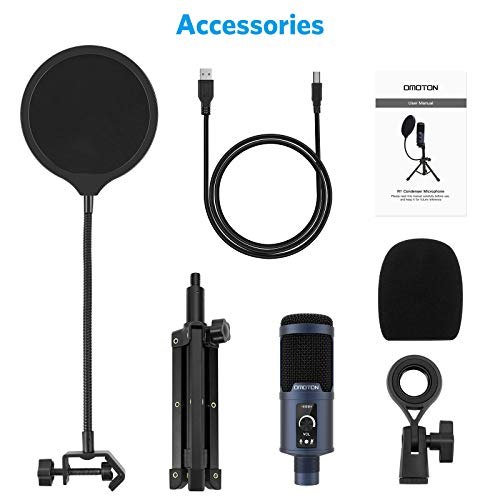 OMOTON USB Microphone for PC [Super Noise Reduction] PC Mic, [192kHz/24Bit] Computer Condenser Microphone for YouTube, Live Stream, ASMR, Gaming Recording with Portable Tripod Stand and Pop Filter