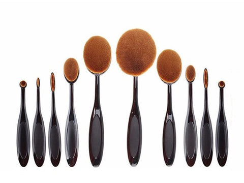 Koolulu 10 PCS Oval Makeup Brush