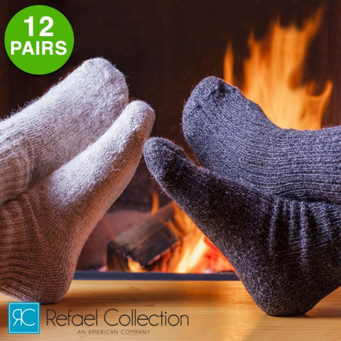 12 Pairs: Extreme Weather Wool Blend Socks by Refael Collection