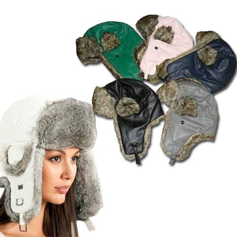 Unisex Aviator Style Hat with Faux Fur Lined Ear Flaps - 5 Colors - MCTTC TECH STORES