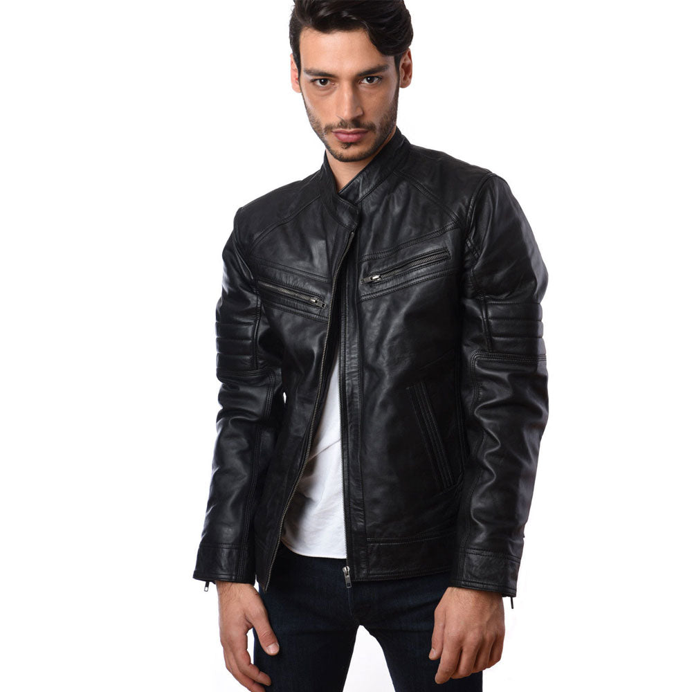 Mens Bikers Fashion Motorcycle Riders Lamb Skin Leather Jacket GBR-5005