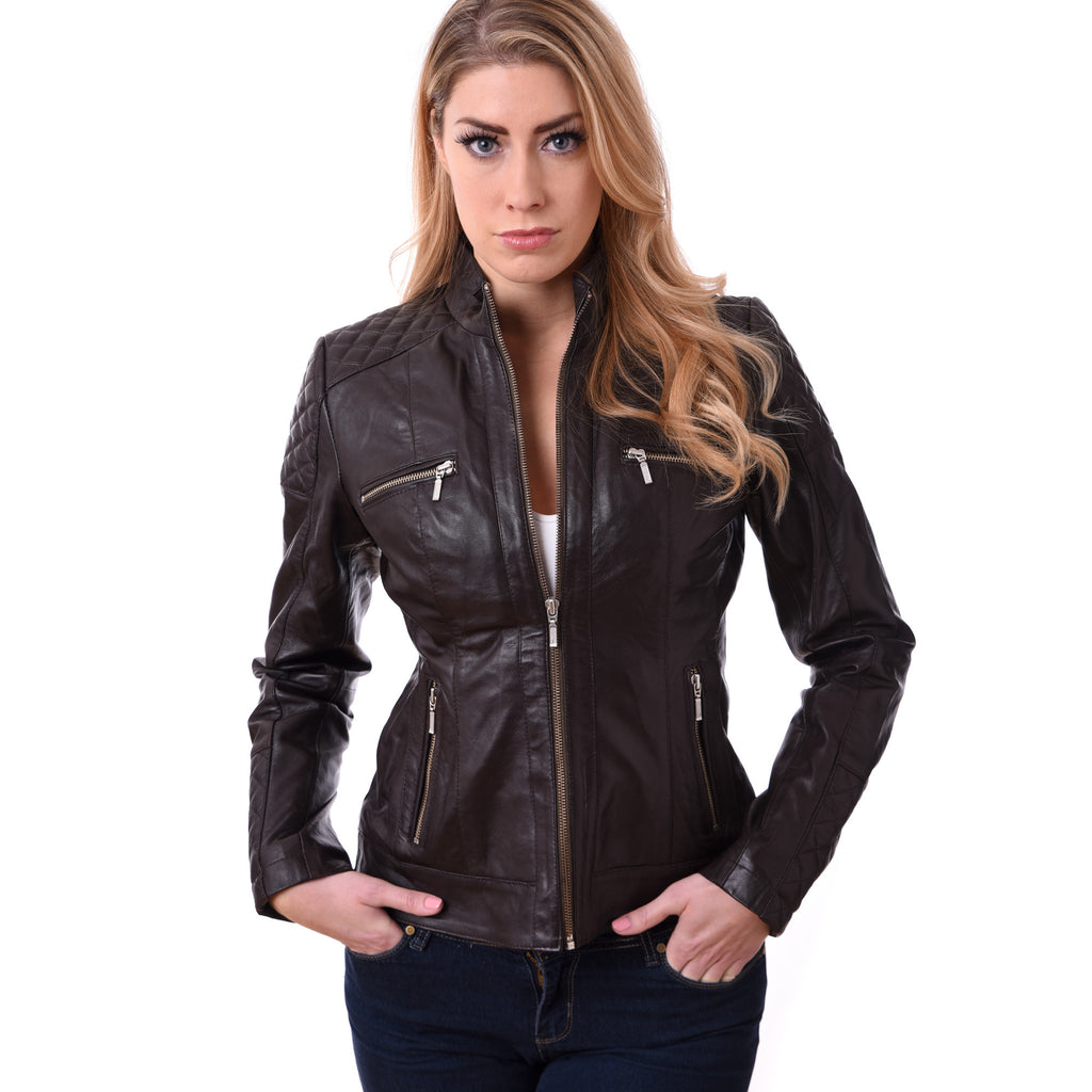 Ladies Women Bikers Style Real Leather Jacket in Lamb Skin Model GBW 1017