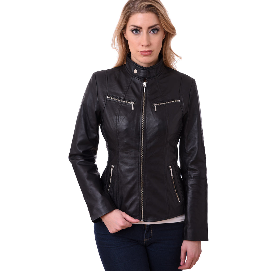 Ladies Women Bikers Style Real Leather Jacket in Lamb Skin Model GBW 1015