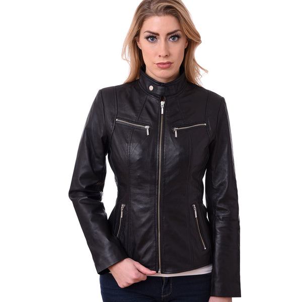 Biker Style Ladies Soft Sheep Nappa 100% Genuine Leather Jacket Black