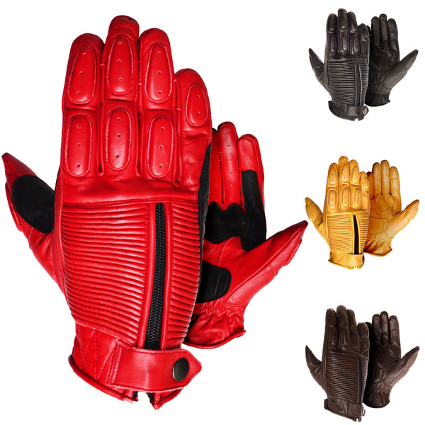 Bobber Cafe Racer Brat Style Retro Leather Motorcycle Gloves