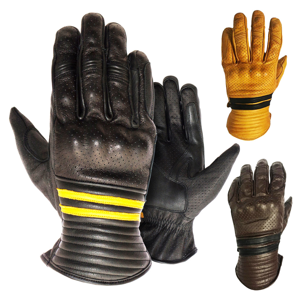 Retro Style Leather Motorcycle Gloves